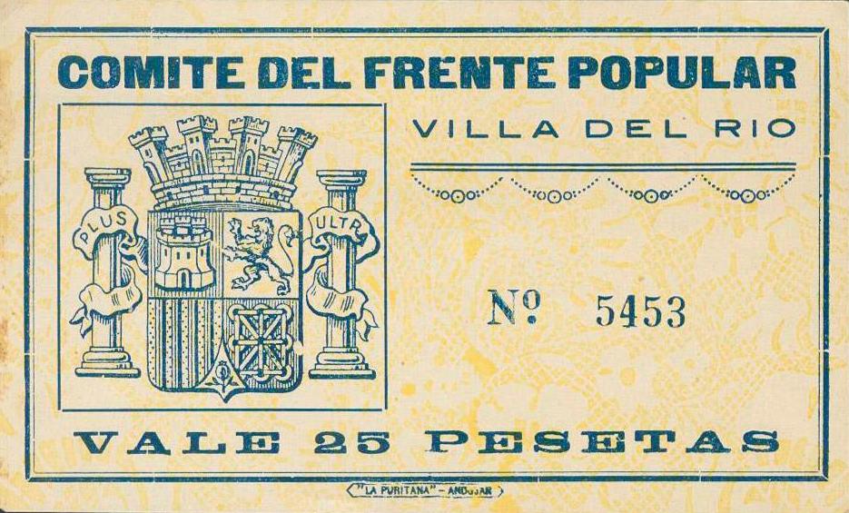 Guerra Civil Villa del Río billete 25 ptas