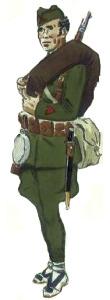 Cabo ejército popular en uniforme de campaña