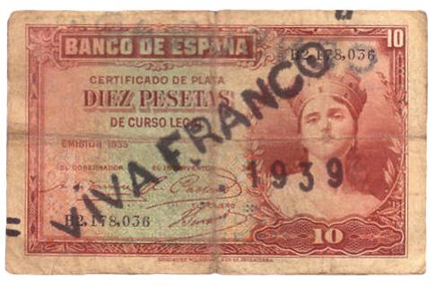 Billete republicano resellado Viva Franco