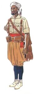 Soldado indígena tropas Regulares uniforme campaña