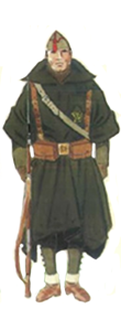 Soldado uniforme de campaña con Capote-Manta