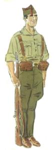 Soldado uniforme de servicio de armas